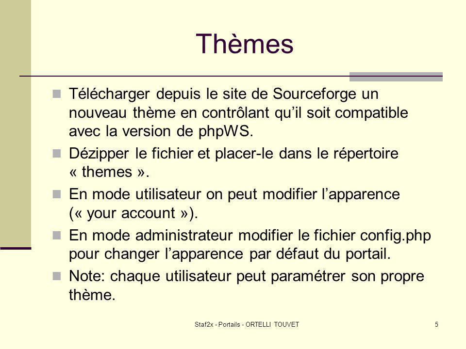 Staf2x - Portails - ORTELLI TOUVET5 Thèmes Télécharger depuis le site de Sourceforge un nouveau thème en contrôlant quil soit compatible avec la version de phpWS.
