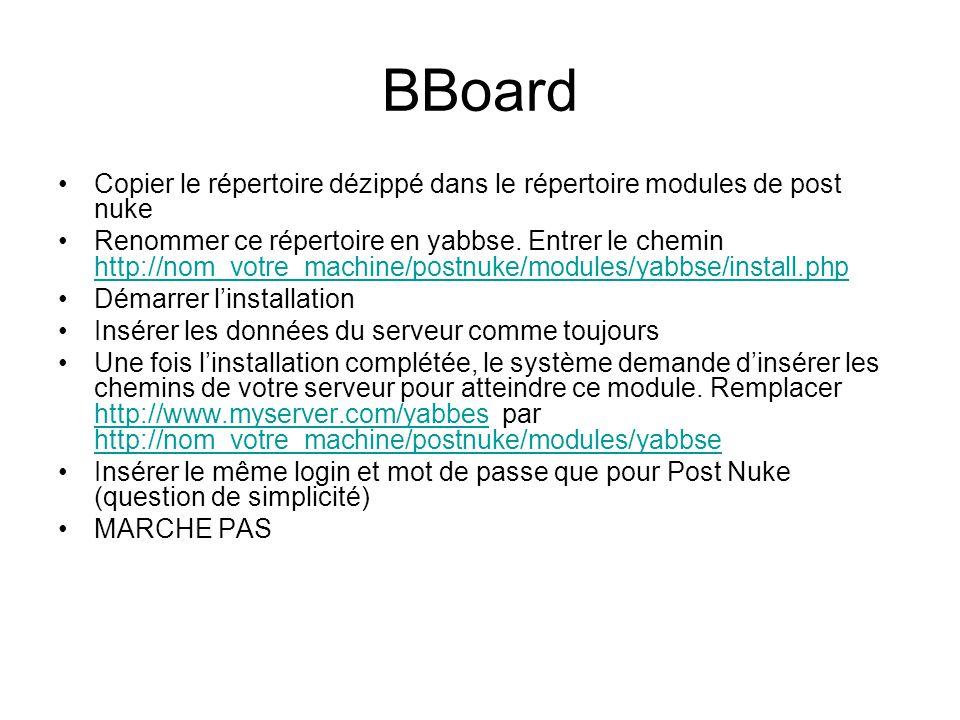 BBoard Copier le répertoire dézippé dans le répertoire modules de post nuke Renommer ce répertoire en yabbse.