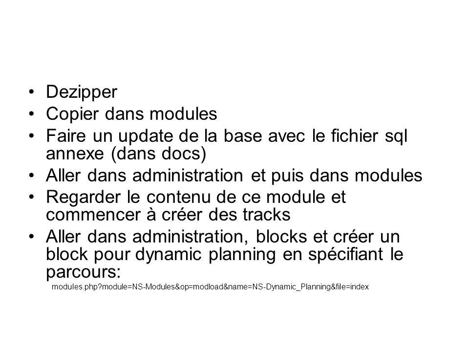 Dezipper Copier dans modules Faire un update de la base avec le fichier sql annexe (dans docs) Aller dans administration et puis dans modules Regarder le contenu de ce module et commencer à créer des tracks Aller dans administration, blocks et créer un block pour dynamic planning en spécifiant le parcours: modules.php module=NS-Modules&op=modload&name=NS-Dynamic_Planning&file=index