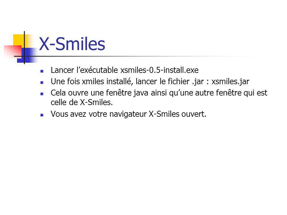 Lancer lexécutable xsmiles-0.5-install.exe Une fois xmiles installé, lancer le fichier.jar : xsmiles.jar Cela ouvre une fenêtre java ainsi quune autre