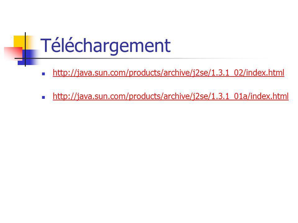 Téléchargement http://java.sun.com/products/archive/j2se/1.3.1_02/index.html http://java.sun.com/products/archive/j2se/1.3.1_01a/index.html