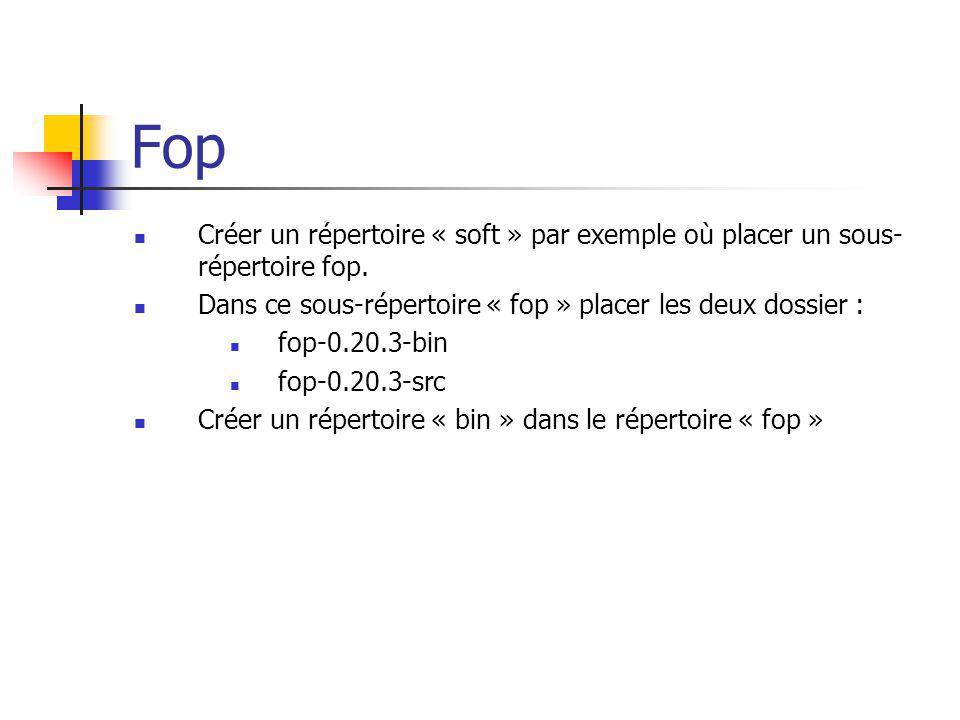Créer un répertoire « soft » par exemple où placer un sous- répertoire fop. Dans ce sous-répertoire « fop » placer les deux dossier : fop-0.20.3-bin f