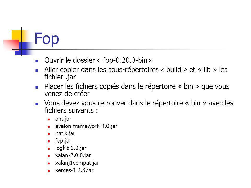 Fop Ouvrir le dossier « fop-0.20.3-bin » Aller copier dans les sous-répertoires « build » et « lib » les fichier.jar Placer les fichiers copiés dans l