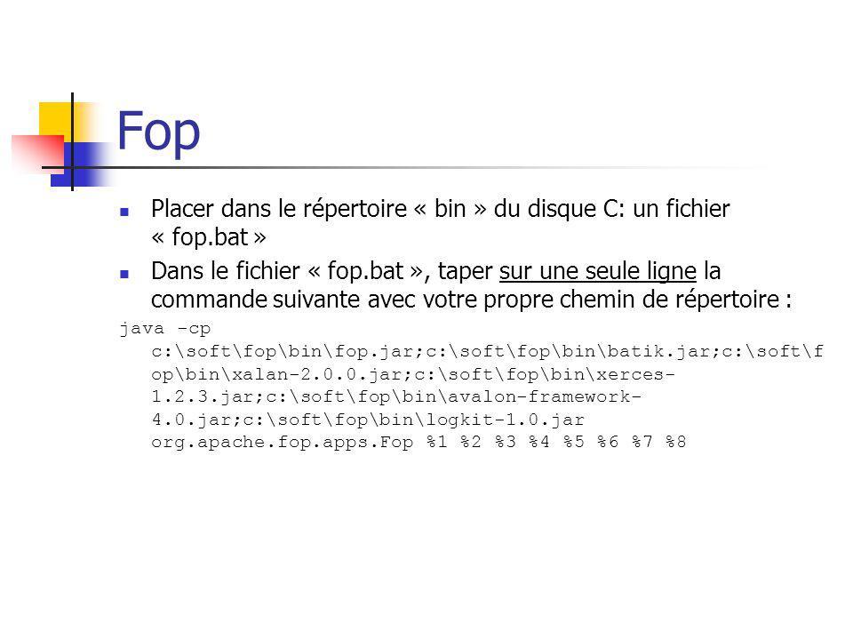 Fop Placer dans le répertoire « bin » du disque C: un fichier « fop.bat » Dans le fichier « fop.bat », taper sur une seule ligne la commande suivante