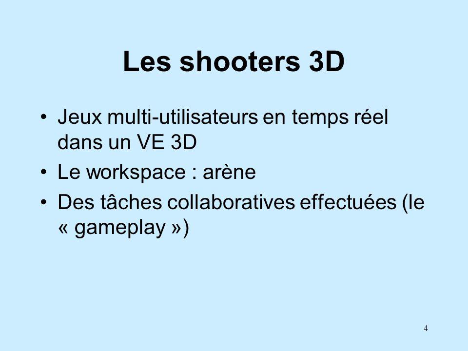 4 Les shooters 3D Jeux multi-utilisateurs en temps réel dans un VE 3D Le workspace : arène Des tâches collaboratives effectuées (le « gameplay »)