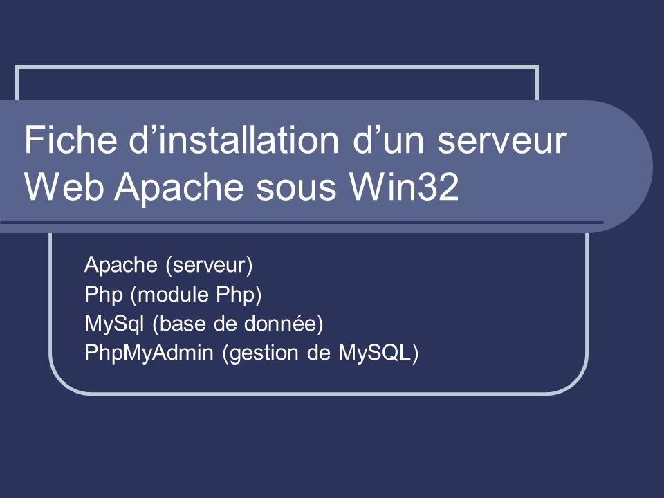 Fiche dinstallation dun serveur Web Apache sous Win32 Apache (serveur) Php (module Php) MySql (base de donnée) PhpMyAdmin (gestion de MySQL)