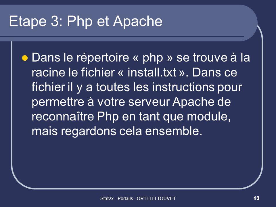 Staf2x - Portails - ORTELLI TOUVET13 Etape 3: Php et Apache Dans le répertoire « php » se trouve à la racine le fichier « install.txt ». Dans ce fichi