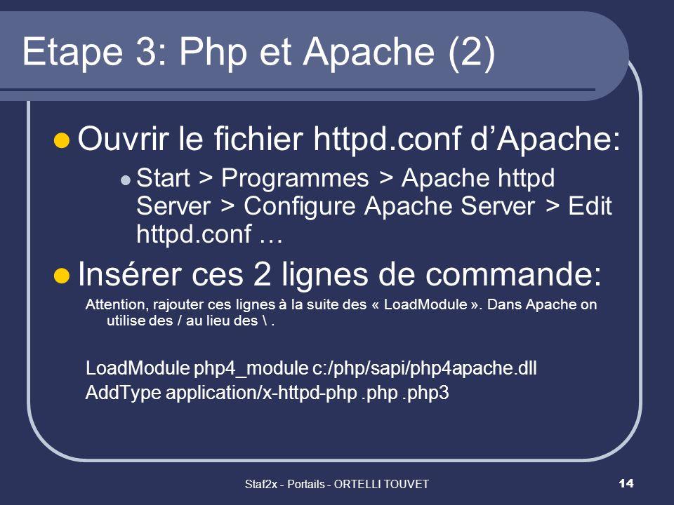 Staf2x - Portails - ORTELLI TOUVET14 Etape 3: Php et Apache (2) Ouvrir le fichier httpd.conf dApache: Start > Programmes > Apache httpd Server > Confi