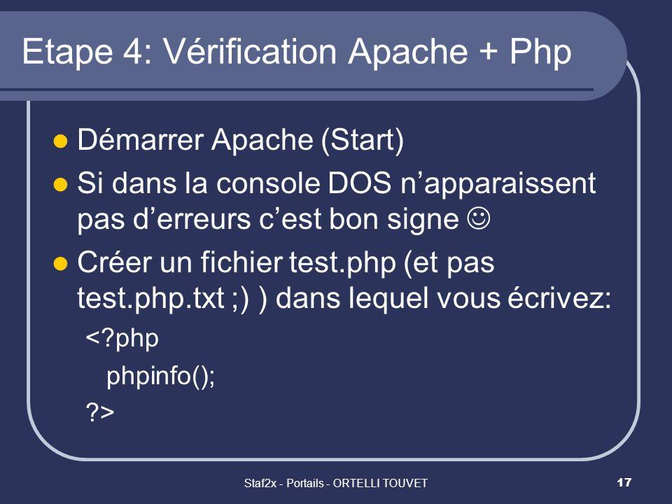 Staf2x - Portails - ORTELLI TOUVET17 Etape 4: Vérification Apache + Php Démarrer Apache (Start) Si dans la console DOS napparaissent pas derreurs cest