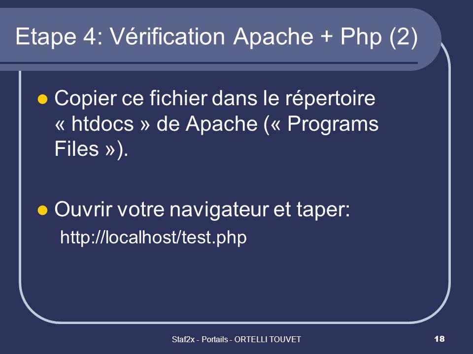Staf2x - Portails - ORTELLI TOUVET18 Etape 4: Vérification Apache + Php (2) Copier ce fichier dans le répertoire « htdocs » de Apache (« Programs File