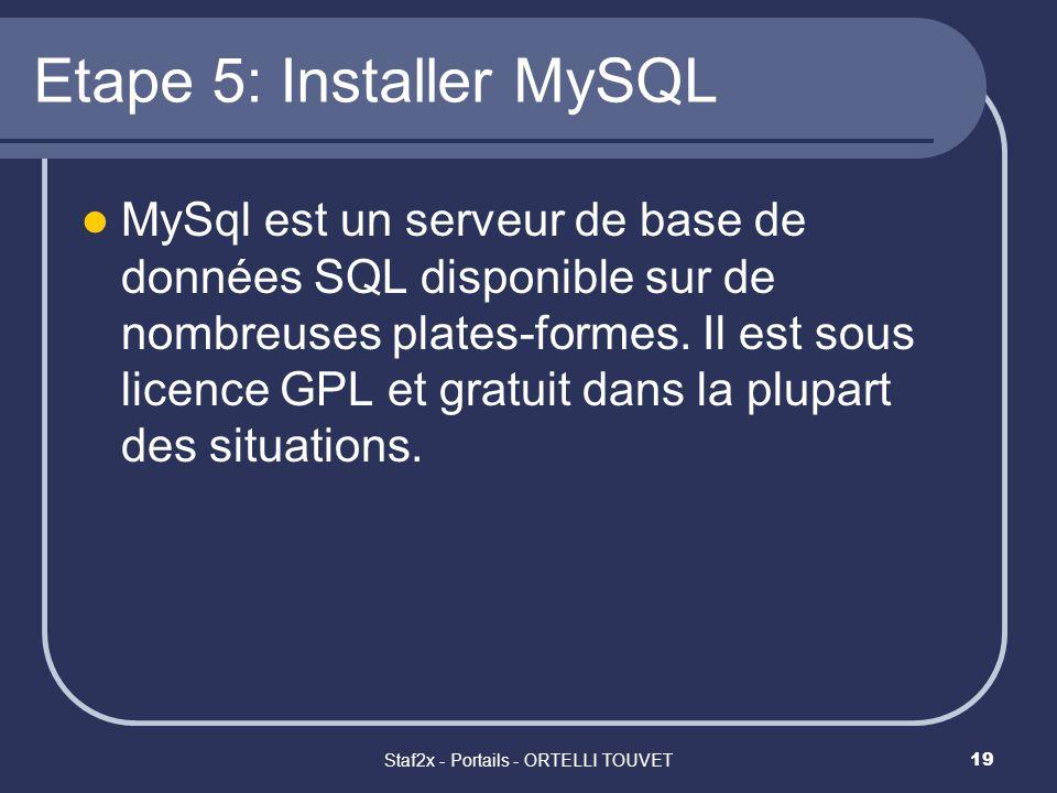 Staf2x - Portails - ORTELLI TOUVET19 Etape 5: Installer MySQL MySql est un serveur de base de données SQL disponible sur de nombreuses plates-formes.