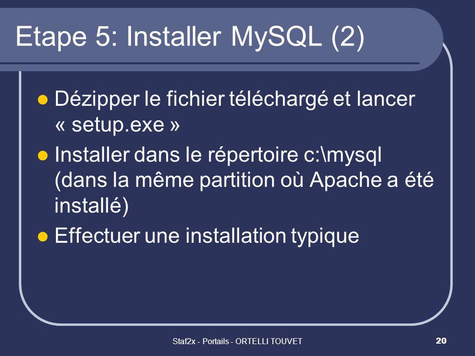 Staf2x - Portails - ORTELLI TOUVET20 Etape 5: Installer MySQL (2) Dézipper le fichier téléchargé et lancer « setup.exe » Installer dans le répertoire