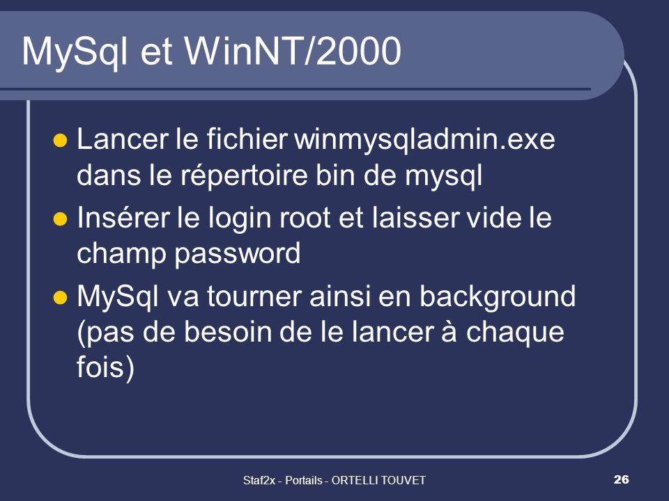 Staf2x - Portails - ORTELLI TOUVET26 MySql et WinNT/2000 Lancer le fichier winmysqladmin.exe dans le répertoire bin de mysql Insérer le login root et laisser vide le champ password MySql va tourner ainsi en background (pas de besoin de le lancer à chaque fois)