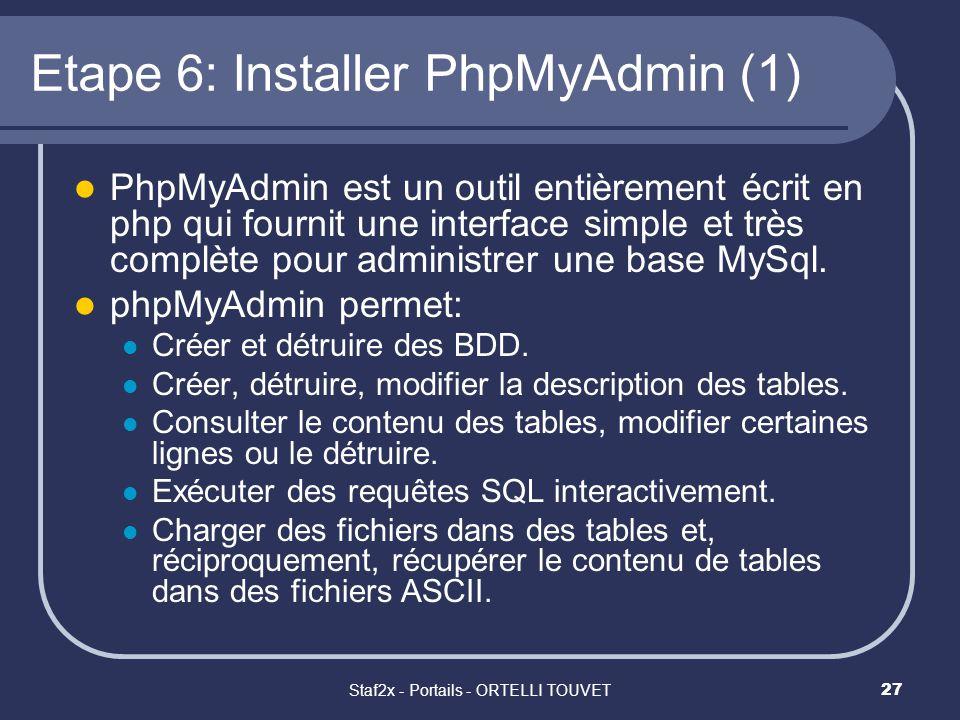 Staf2x - Portails - ORTELLI TOUVET27 Etape 6: Installer PhpMyAdmin (1) PhpMyAdmin est un outil entièrement écrit en php qui fournit une interface simp