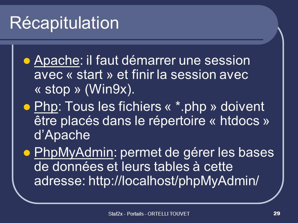 Staf2x - Portails - ORTELLI TOUVET29 Récapitulation Apache: il faut démarrer une session avec « start » et finir la session avec « stop » (Win9x). Php