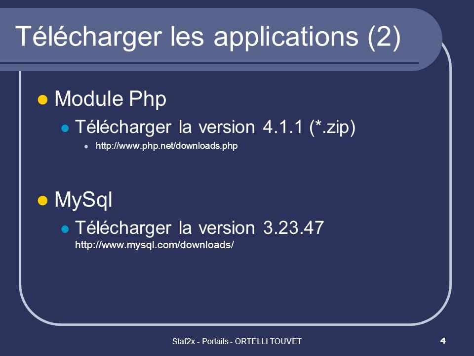 Staf2x - Portails - ORTELLI TOUVET5 Télécharger les applications (3) PhpMyAdmin Télécharger la version 2.2.3 (*.zip) http://phpmyadmin.sourceforge.net/