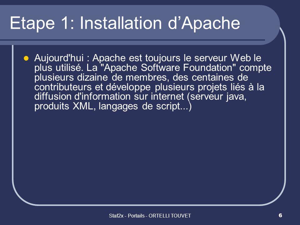 Staf2x - Portails - ORTELLI TOUVET17 Etape 4: Vérification Apache + Php Démarrer Apache (Start) Si dans la console DOS napparaissent pas derreurs cest bon signe Créer un fichier test.php (et pas test.php.txt ;) ) dans lequel vous écrivez: <?php phpinfo(); ?>