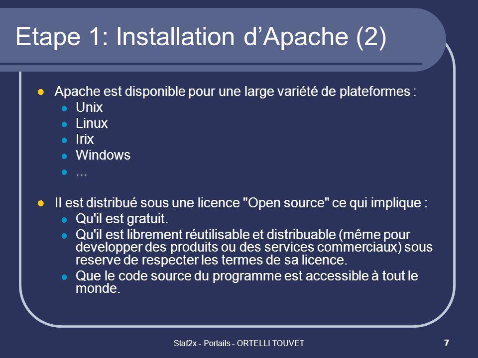 Staf2x - Portails - ORTELLI TOUVET8 Etape 1: Installation dApache (3) Phase 1: Installer le MSI Binary Distribution Attention cette phase ne concerne que les systèmes Win9x (pas nécessaire pour la technologie NT et XP).