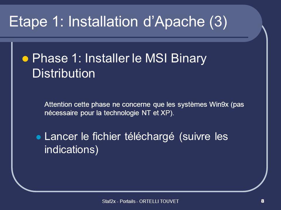 Staf2x - Portails - ORTELLI TOUVET9 Etape 1: Installation dApache (4) Phase 2: Installation dApache Lancer le fichier téléchargé Insérez vos données pour: Network Domain : votre_nom.com Server Name : www.votre_nom.com Administrators Email Address: votre_adresse_email Run when started manually Exécuter linstallation « complete » (et non « custom ») Choisir le répertoire proposé par linstalleur (en général c:\Program Files\Apache Group\)