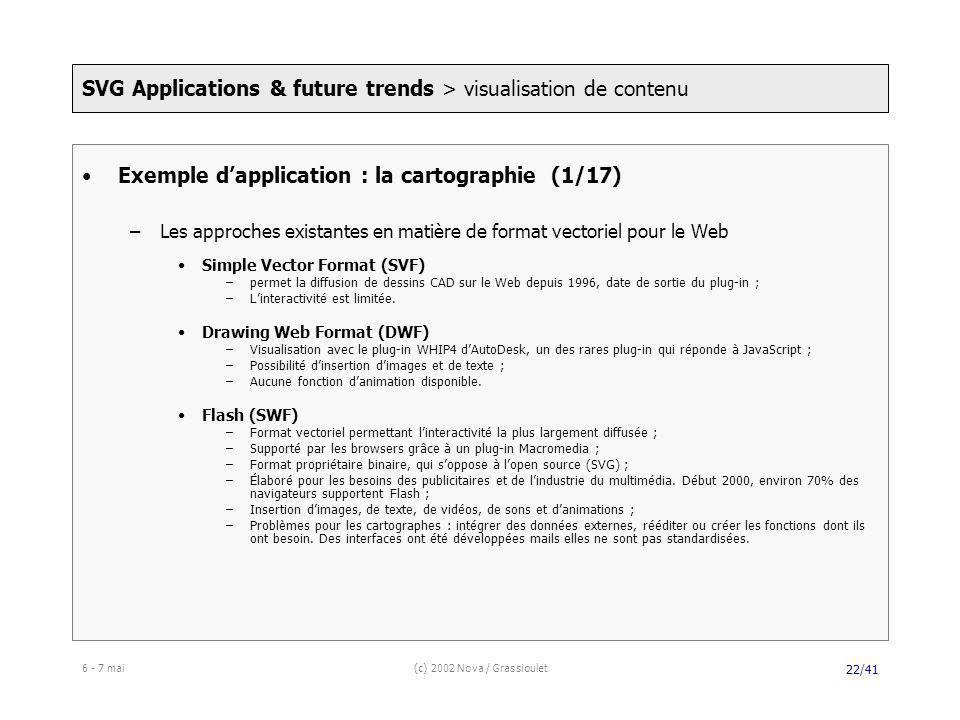 6 - 7 mai(c) 2002 Nova / Grassioulet 22/41 Exemple dapplication : la cartographie (1/17) –Les approches existantes en matière de format vectoriel pour le Web Simple Vector Format (SVF) –permet la diffusion de dessins CAD sur le Web depuis 1996, date de sortie du plug-in ; –Linteractivité est limitée.