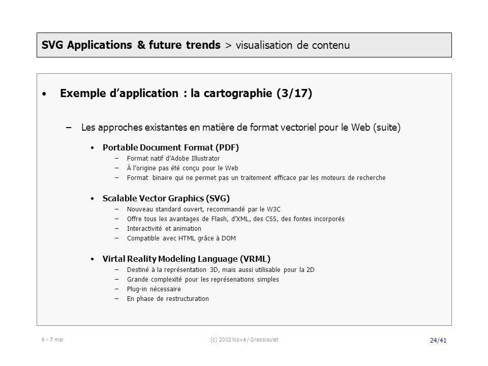 6 - 7 mai(c) 2002 Nova / Grassioulet 24/41 Exemple dapplication : la cartographie (3/17) –Les approches existantes en matière de format vectoriel pour le Web (suite) Portable Document Format (PDF) –Format natif dAdobe Illustrator –À lorigine pas été conçu pour le Web –Format binaire qui ne permet pas un traitement efficace par les moteurs de recherche Scalable Vector Graphics (SVG) –Nouveau standard ouvert, recommandé par le W3C –Offre tous les avantages de Flash, dXML, des CSS, des fontes incorporés –Interactivité et animation –Compatible avec HTML grâce à DOM Virtal Reality Modeling Language (VRML) –Destiné à la représentation 3D, mais aussi utilisable pour la 2D –Grande complexité pour les représenations simples –Plug-in nécessaire –En phase de restructuration SVG Applications & future trends > visualisation de contenu