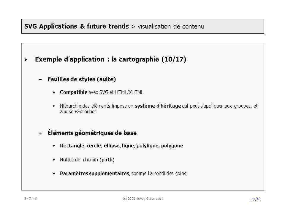 6 - 7 mai(c) 2002 Nova / Grassioulet 31/41 Exemple dapplication : la cartographie (10/17) –Feuilles de styles (suite) Compatible avec SVG et HTML/XHTML Hiérarchie des éléments impose un système dhéritage qui peut sappliquer aux groupes, et aux sous-groupes –Éléments géométriques de base Rectangle, cercle, ellipse, ligne, polyligne, polygone Notion de chemin (path) Paramètres supplémentaires, comme larrondi des coins SVG Applications & future trends > visualisation de contenu