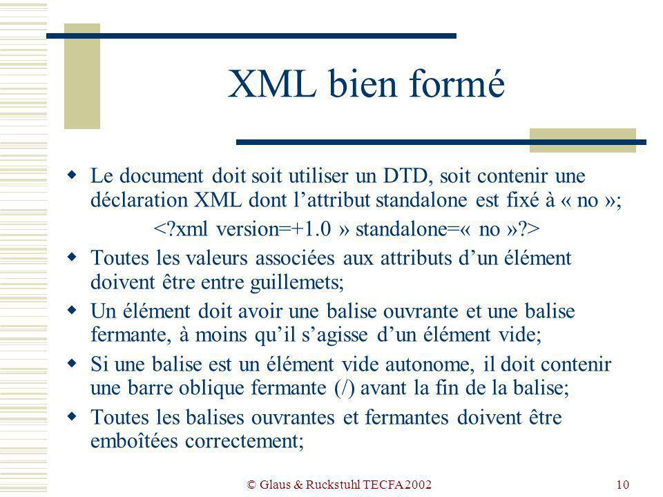 © Glaus & Ruckstuhl TECFA 200210 XML bien formé Le document doit soit utiliser un DTD, soit contenir une déclaration XML dont lattribut standalone est fixé à « no »; Toutes les valeurs associées aux attributs dun élément doivent être entre guillemets; Un élément doit avoir une balise ouvrante et une balise fermante, à moins quil sagisse dun élément vide; Si une balise est un élément vide autonome, il doit contenir une barre oblique fermante (/) avant la fin de la balise; Toutes les balises ouvrantes et fermantes doivent être emboîtées correctement;