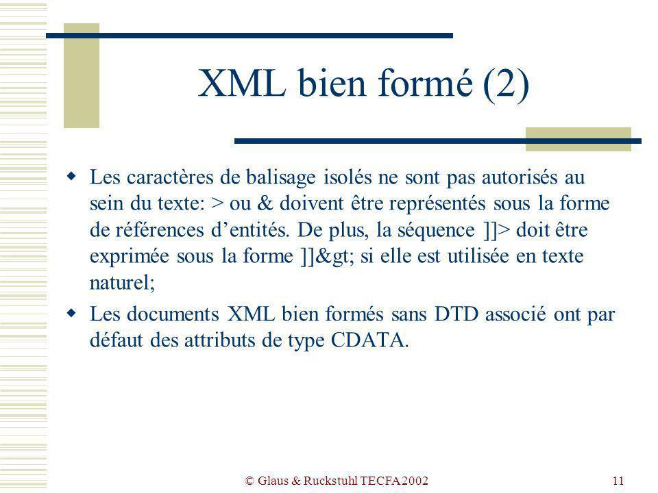 © Glaus & Ruckstuhl TECFA 200211 XML bien formé (2) Les caractères de balisage isolés ne sont pas autorisés au sein du texte: > ou & doivent être représentés sous la forme de références dentités.