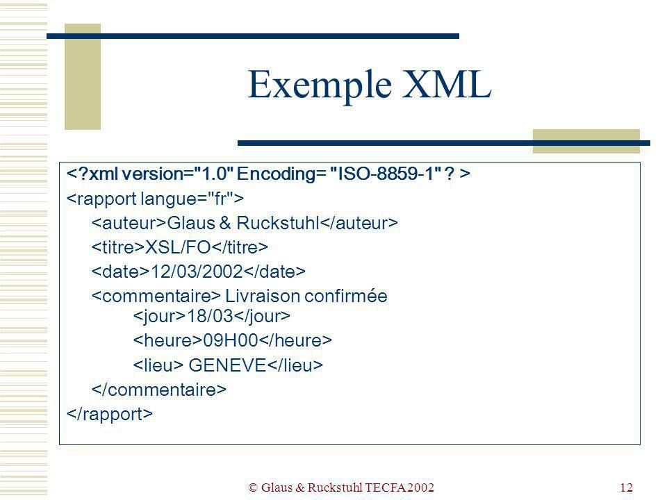 © Glaus & Ruckstuhl TECFA 200212 Exemple XML Glaus & Ruckstuhl XSL/FO 12/03/2002 Livraison confirmée 18/03 09H00 GENEVE
