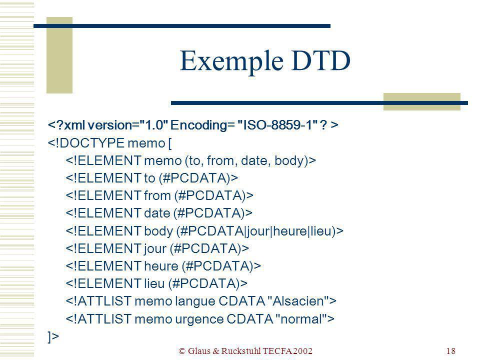 © Glaus & Ruckstuhl TECFA 200218 Exemple DTD <!DOCTYPE memo [ ]>
