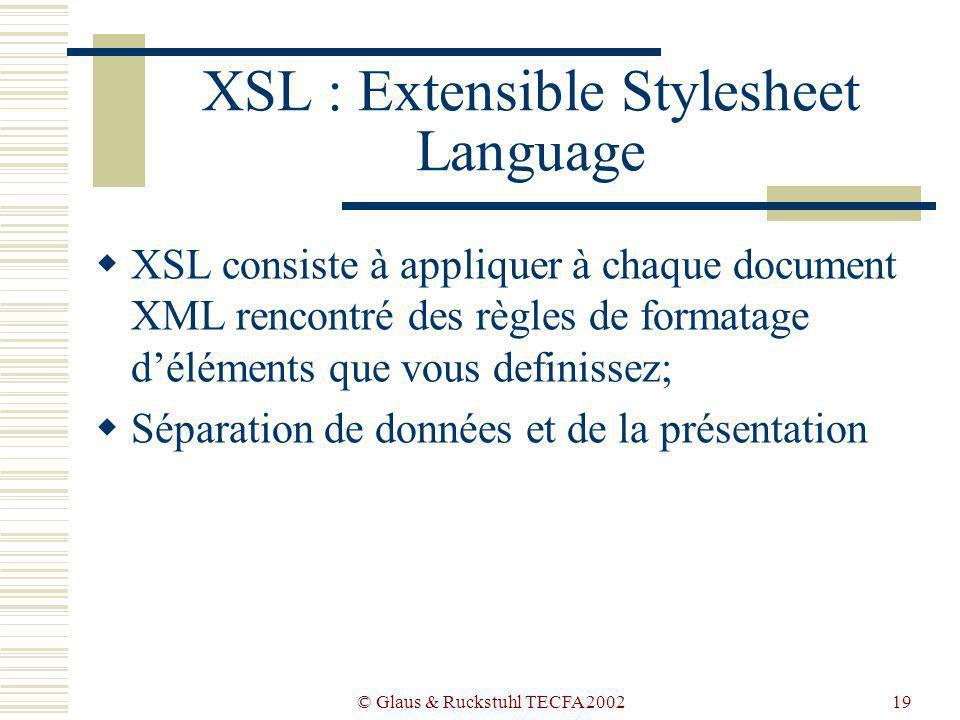 © Glaus & Ruckstuhl TECFA 200219 XSL : Extensible Stylesheet Language XSL consiste à appliquer à chaque document XML rencontré des règles de formatage déléments que vous definissez; Séparation de données et de la présentation