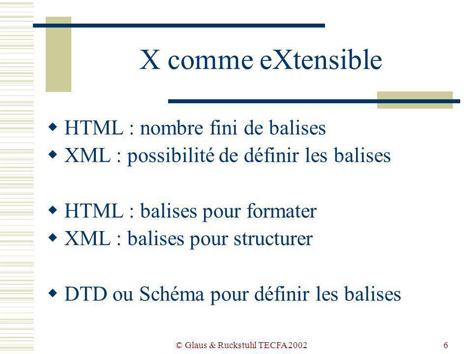© Glaus & Ruckstuhl TECFA 20026 X comme eXtensible HTML : nombre fini de balises XML : possibilité de définir les balises HTML : balises pour formater XML : balises pour structurer DTD ou Schéma pour définir les balises