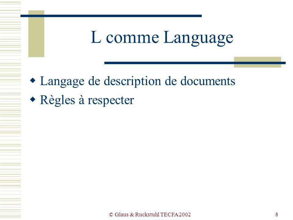 © Glaus & Ruckstuhl TECFA 20028 L comme Language Langage de description de documents Règles à respecter