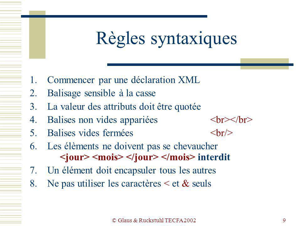 © Glaus & Ruckstuhl TECFA 20029 Règles syntaxiques 1.Commencer par une déclaration XML 2.Balisage sensible à la casse 3.La valeur des attributs doit être quotée 4.Balises non vides appariées 5.Balises vides fermées 6.Les élèments ne doivent pas se chevaucher interdit 7.Un élément doit encapsuler tous les autres 8.Ne pas utiliser les caractères < et & seuls
