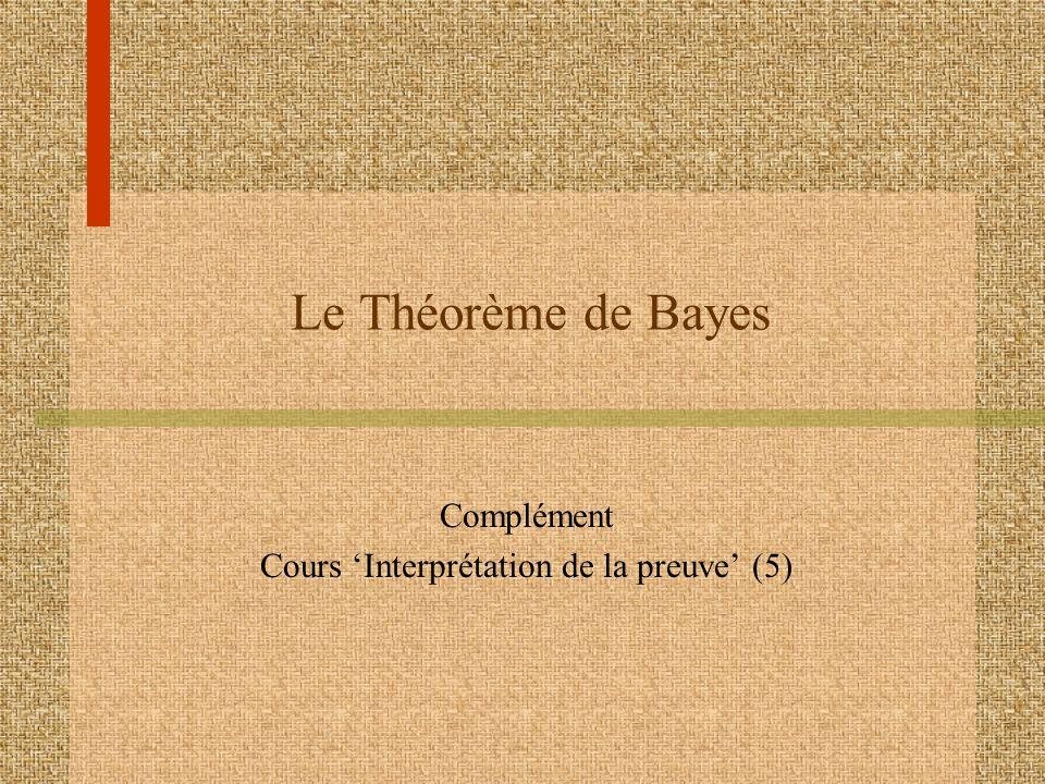 Conclusion Avec un résultat positif (T), la chance pour le patient davoir la maladie (M) augmente de 1 sur 1000 à 1 sur 21 Cette même procédure peut être compressée dans une seule formulée, connue sous lappellation de Théorème de Bayes :