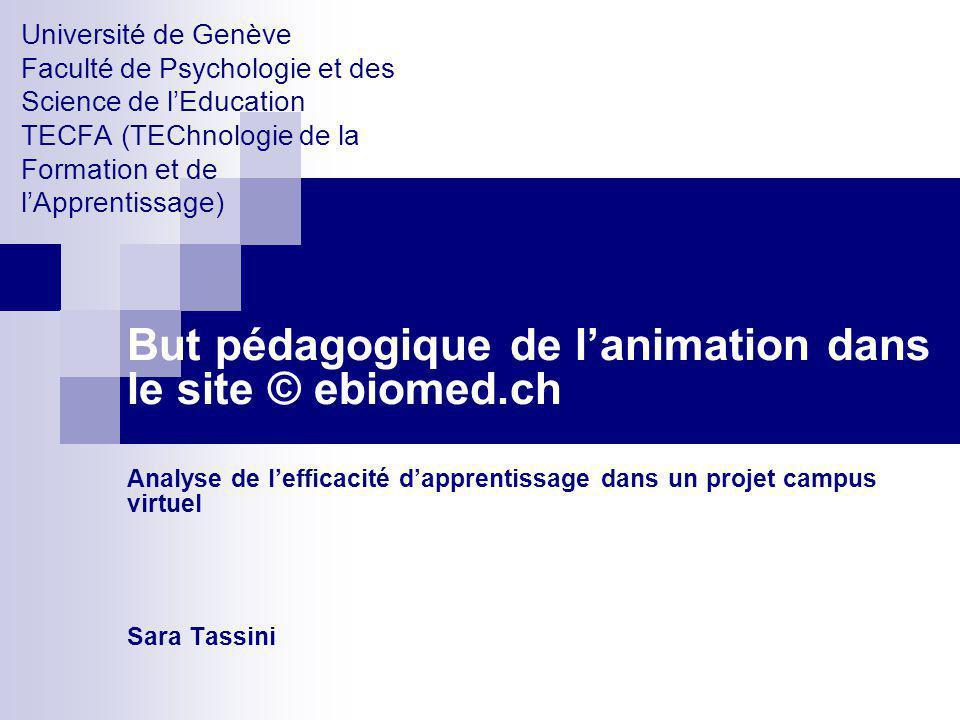 Université de Genève Faculté de Psychologie et des Science de lEducation TECFA (TEChnologie de la Formation et de lApprentissage) But pédagogique de l