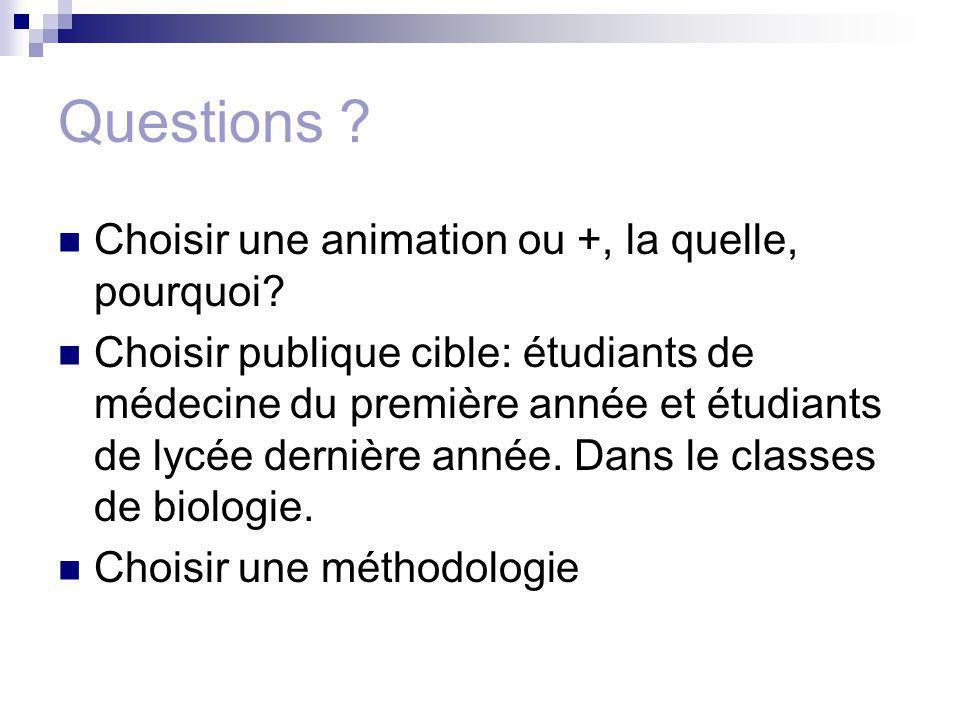 Questions ? Choisir une animation ou +, la quelle, pourquoi? Choisir publique cible: étudiants de médecine du première année et étudiants de lycée der