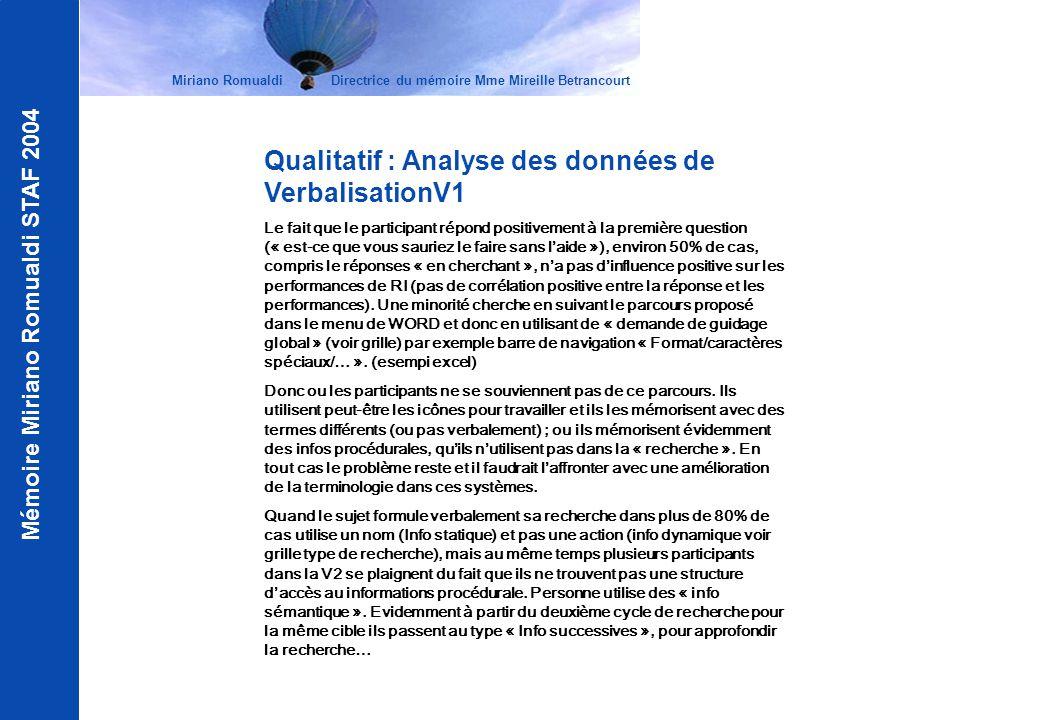 Mémoire Miriano Romualdi STAF 2004 Miriano Romualdi Directrice du mémoire Mme Mireille Betrancourt Qualitatif : Analyse des données de VerbalisationV1
