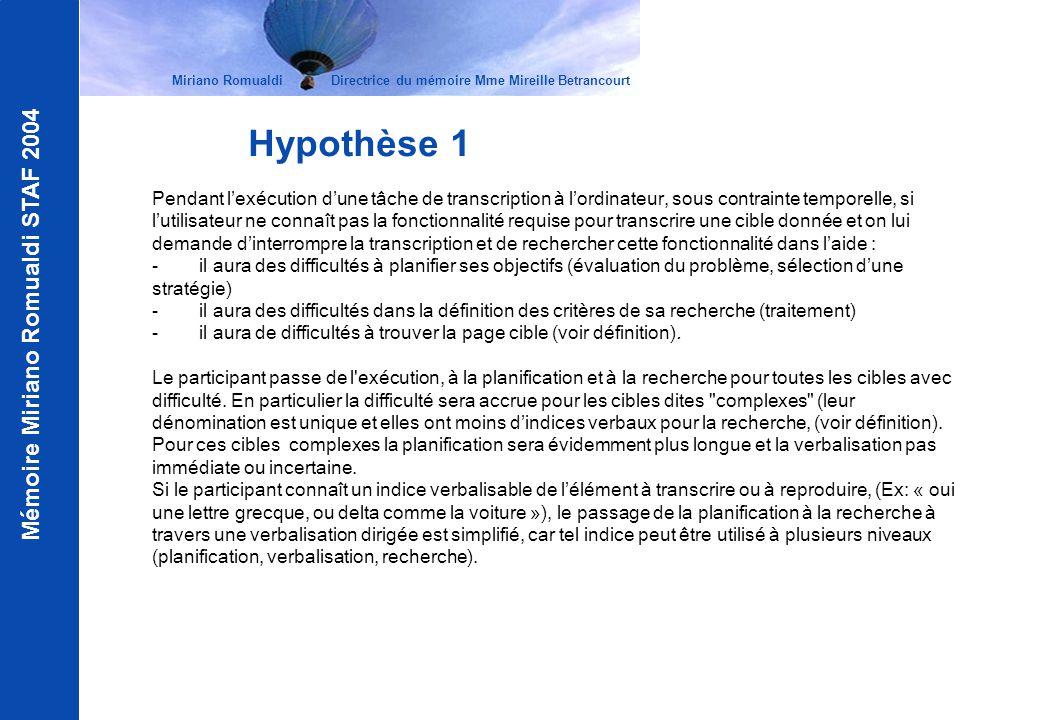 Mémoire Miriano Romualdi STAF 2004 Miriano Romualdi Directrice du mémoire Mme Mireille Betrancourt Hypothèse 2 Le facteur nombre de clicks (voir définition) pour atteindre une cible à travers le parcours optimal n affecte pas la difficulté de la tâche de recherche.