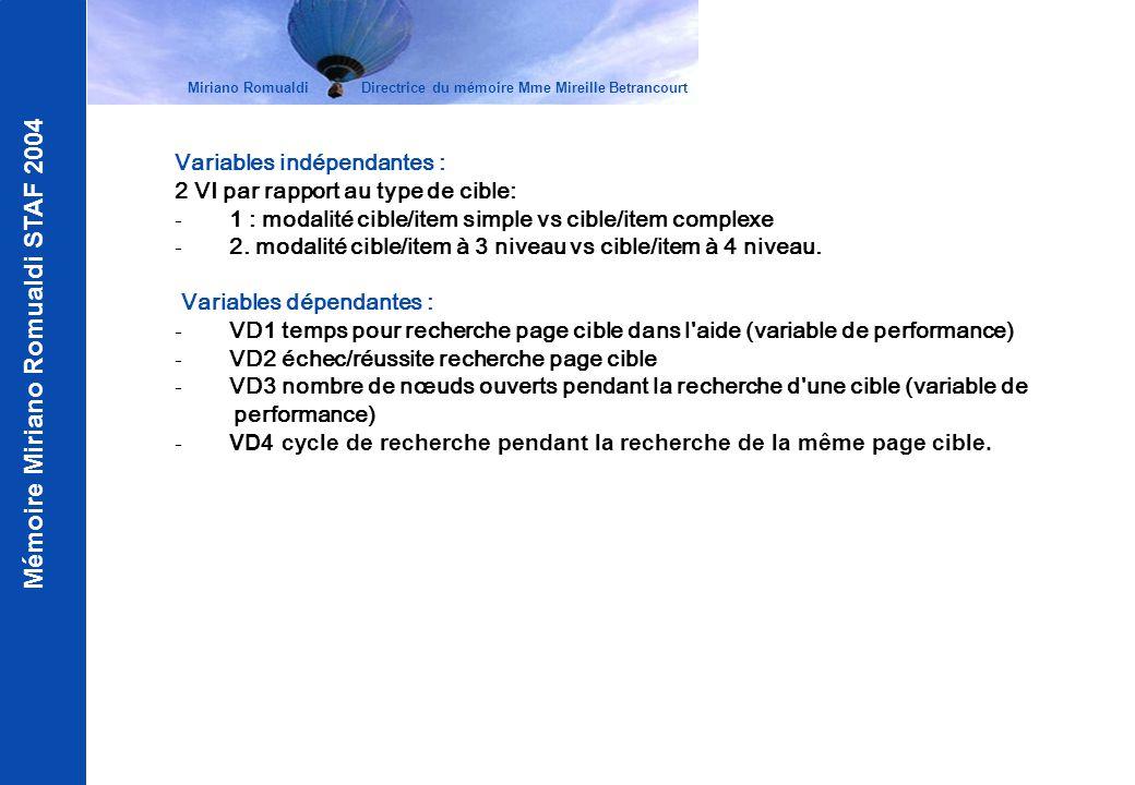 Mémoire Miriano Romualdi STAF 2004 Variables indépendantes : 2 VI par rapport au type de cible: - 1 : modalité cible/item simple vs cible/item complex