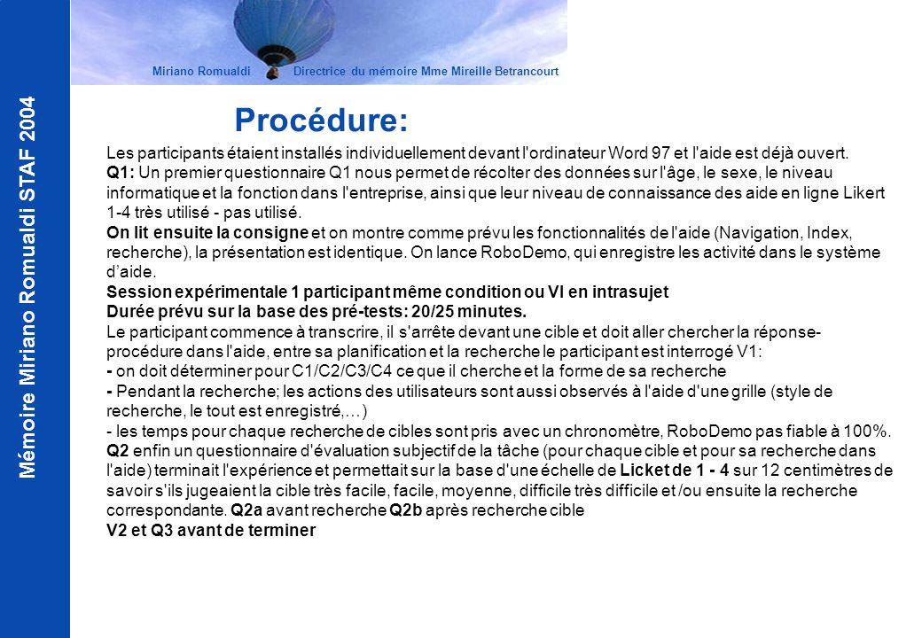 Mémoire Miriano Romualdi STAF 2004 Procédure: Les participants étaient installés individuellement devant l'ordinateur Word 97 et l'aide est déjà ouver