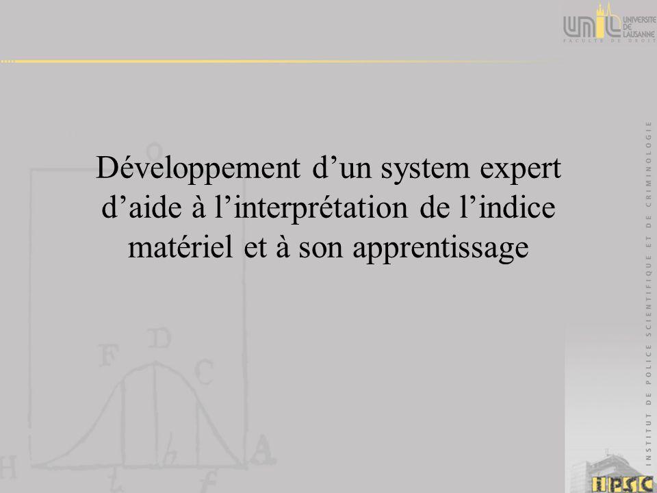 Développement dun system expert daide à linterprétation de lindice matériel et à son apprentissage