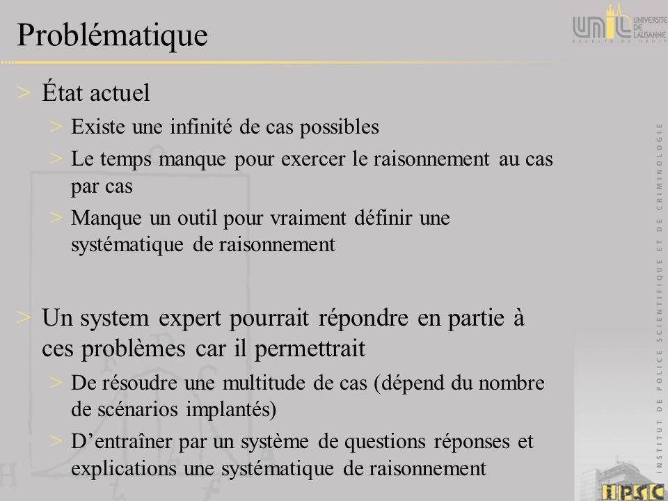 Problématique >État actuel >Existe une infinité de cas possibles >Le temps manque pour exercer le raisonnement au cas par cas >Manque un outil pour vr