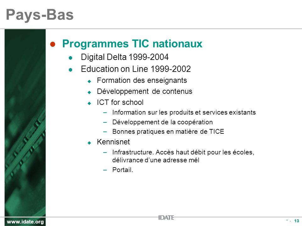 www.idate.org * - 13 Pays-Bas Programmes TIC nationaux Digital Delta 1999-2004 Education on Line 1999-2002 Formation des enseignants Développement de contenus ICT for school –Information sur les produits et services existants –Développement de la coopération –Bonnes pratiques en matière de TICE Kennisnet –Infrastructure.