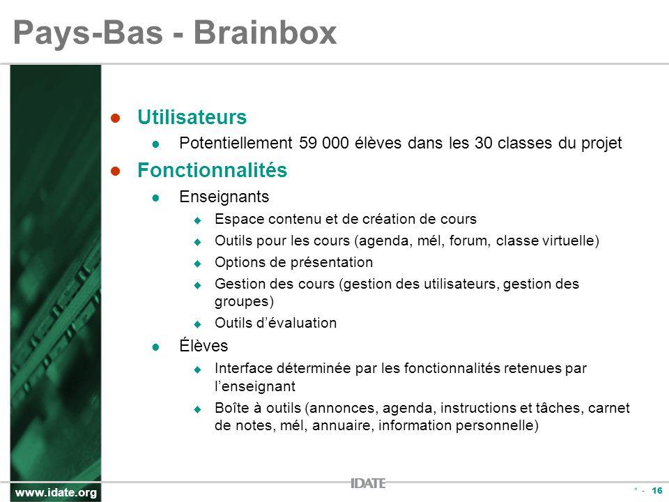 www.idate.org * - 16 Pays-Bas - Brainbox Utilisateurs Potentiellement 59 000 élèves dans les 30 classes du projet Fonctionnalités Enseignants Espace c