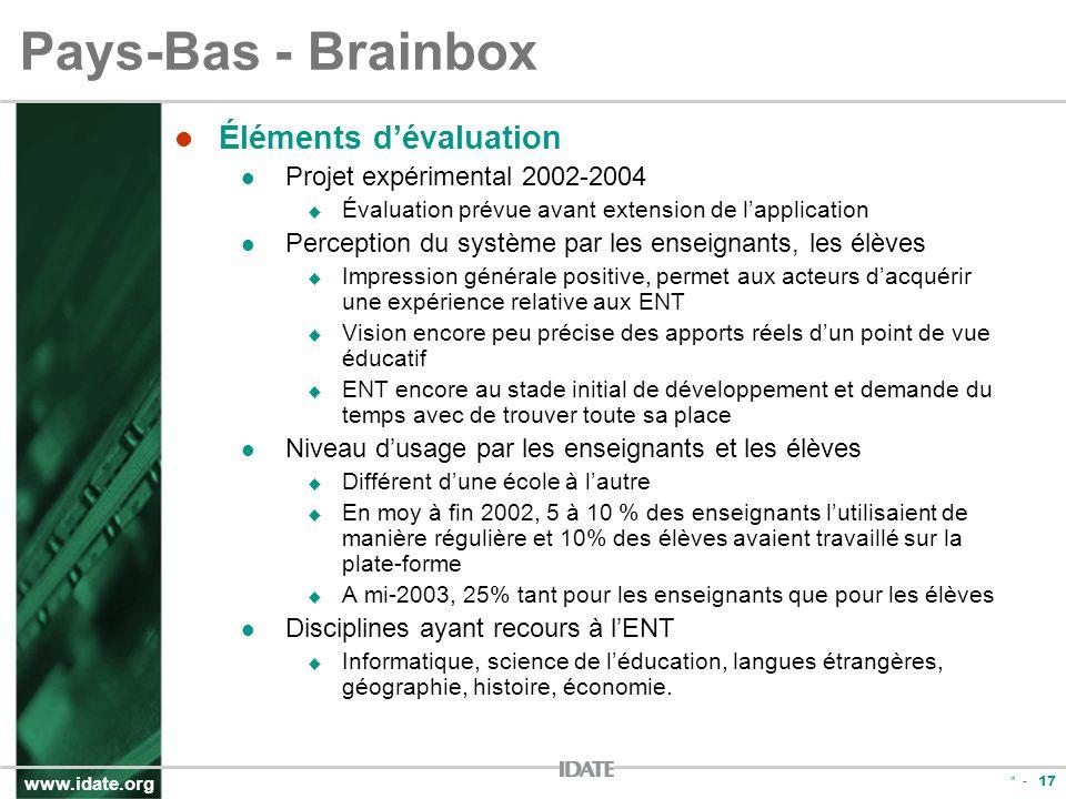 www.idate.org * - 17 Pays-Bas - Brainbox Éléments dévaluation Projet expérimental 2002-2004 Évaluation prévue avant extension de lapplication Percepti