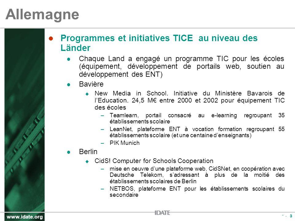 www.idate.org * - 3 Allemagne Programmes et initiatives TICE au niveau des Länder Chaque Land a engagé un programme TIC pour les écoles (équipement, développement de portails web, soutien au développement des ENT) Bavière New Media in School.