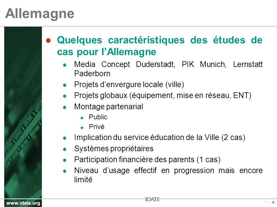 www.idate.org * - 4 Allemagne Quelques caractéristiques des études de cas pour lAllemagne Media Concept Duderstadt, PIK Munich, Lernstatt Paderborn Pr