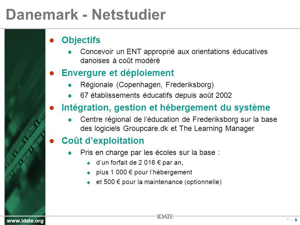 www.idate.org * - 8 Danemark - Netstudier Objectifs Concevoir un ENT approprié aux orientations éducatives danoises à coût modéré Envergure et déploie
