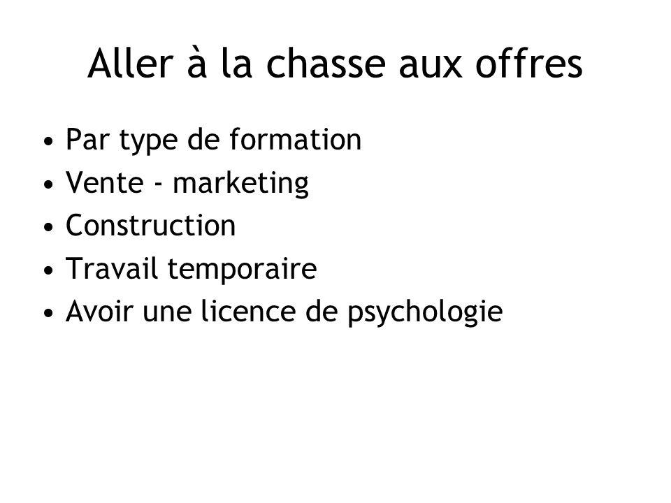 Aller à la chasse aux offres Par type de formation Vente - marketing Construction Travail temporaire Avoir une licence de psychologie